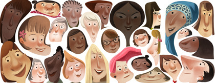 Google's Doodle of the Day for International Women's Day.  About to fall out of my chair.  TWO Google Doodles for women in ONE week?  If only this didn't happen during National Women's History Month in March.