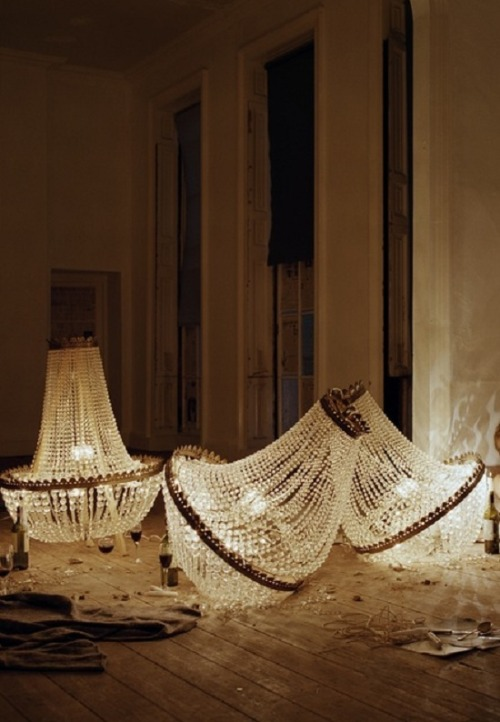 Tom Guinness with Chandelier Shards, Bedford Square, London, 2010, photographed by Tim Walker