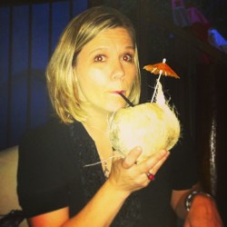 Fancy coconut margarita at the wrap party for A WOMAN BETRAYED/THE PREACHER'S MISTRESS! (at El Pueblito)