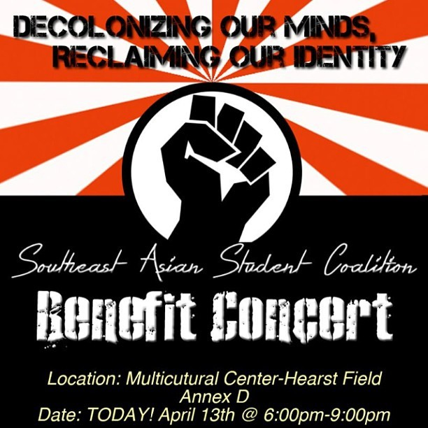 ratema:  SASC SI Benefit Concert tonight from 6-9pm at the Multicultural Center! Come for performances, great food, and a silent auction with lovely items! Hit me up for more details! Guaranteed a good time with plenty of community love! ✊❤  If you're in the Bay area, definitely come through to UC Berkeley and check out this community concert today Saturday, April 13, 2013 from 6pm-9pm. All proceeds go SASC Summer Institute, a 5 day summer program focused on Southeast Asian history and culture for high students.