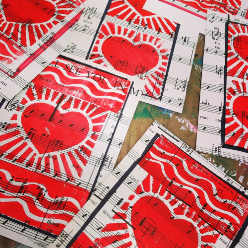 Heart linocuts on vintage sheet music. Great Valentines gift for just $10. #Crazy!