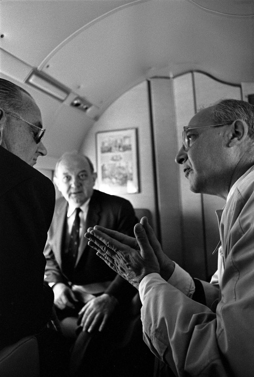 April 11, 1967. President Johnson awakens aboard Air Force One en route to Montevideo, Uruguay where he will attend the Punta del Este Summit meeting between nations involved in the Alliance for Progress. While there, Johnson hopes to strengthen the Alliance for Progress as well as focus on the development of a common market in Latin America. LBJ Presidential Library photo A3986-23a, 5046-15, A3978-28, A3980-04a, A3975-05, A3975-15, A3983-18, A3980-19a, C5024-21a, C5025-36a; public domain.