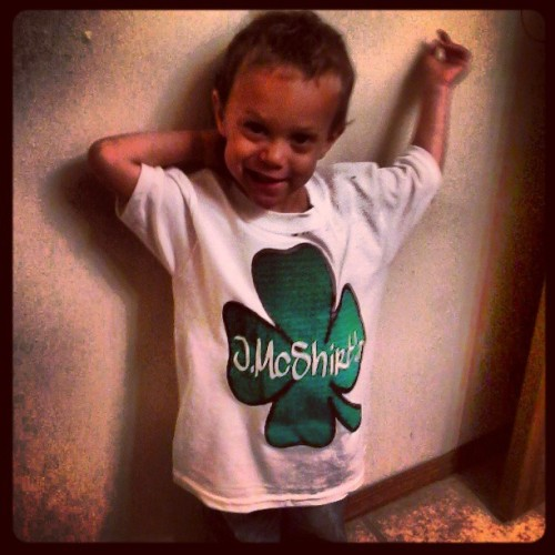 Stunting like his daddy! #DaddysPrideAndJoy #MyInspiration #JMcShirts #custom #clothing #tees #fourleafclover