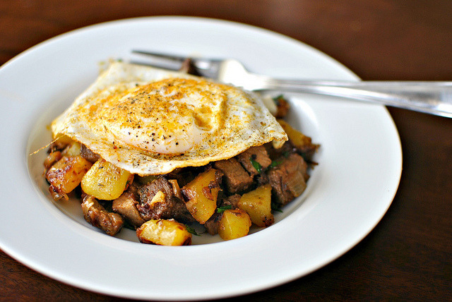 foodopia:  fried eggs over breakfast hash: recipe here