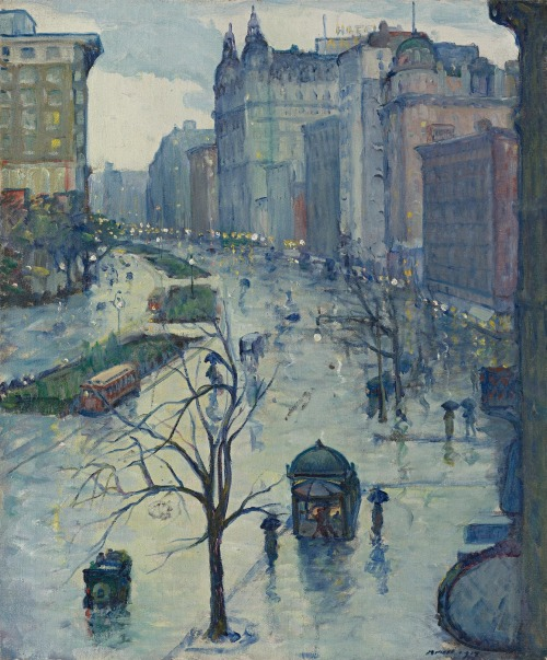 "arcadiaart:  Leon Kroll (1884-1974), ""Broadway Looking South""."