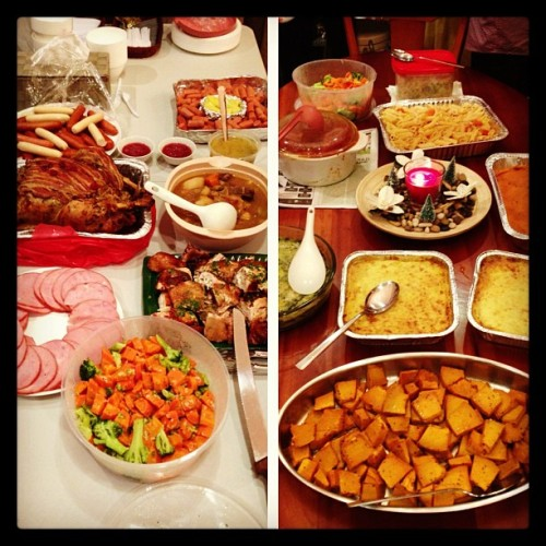 The spread at Fuel's Christmas Party! 🍗🍴🍝