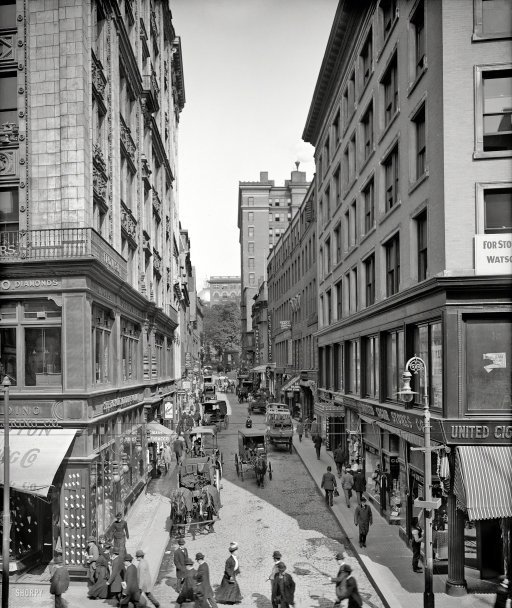 Bustling Bromfield, Boston c. 1908 (via Shorpy Historical Photo Archive)