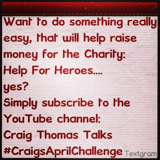 Come on, challenge me to raise more money - it's easy….. #craigsaprilchallenge
