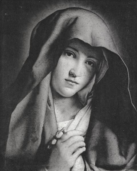 Mary as the Mother of Sorrows, painted by Sassoferrato.