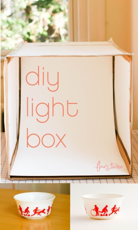 DIY Easy Lightbox Tutorial from Flax & Twine here. And this one is really easy: tissue paper, cardboard box, poster board, etc… For six more easy tutorials for lightboxes go here: truebluemeandyou.tumblr.com/tagged/lightbox