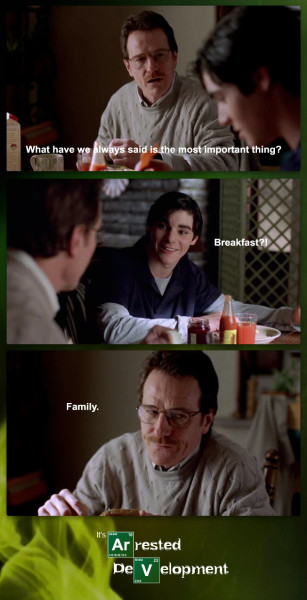 "dailybreakingbad:  Breakfasting Badhttp://dailybreakingbad.tumblr.com/  Skylar- ""Breakfast can wait!""Walt Jr.- ""……….Getting real tired of your shit, Ma."""