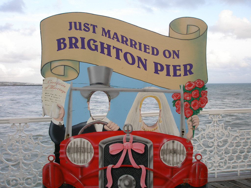 Just Married on Brighton Pier