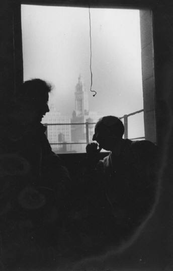 Untitled (Nelson Algren and friend, silhouettes), 1949, Chicago. Art Shay