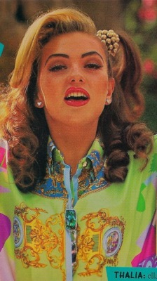 Mexican pop princess Thalia wearing vintage Versace