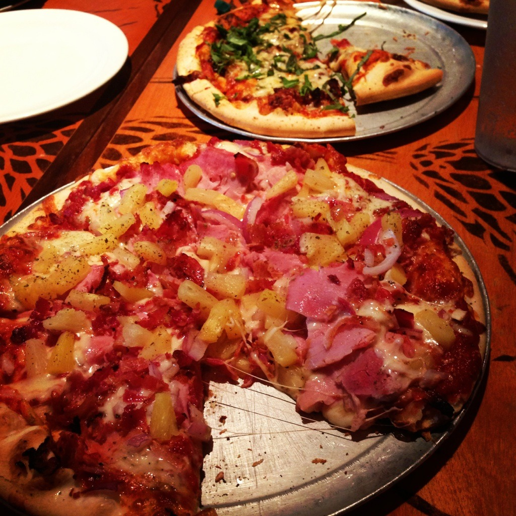 Hawaiian pizza with ham, pineapples, red onions, and bacon @Bazbeaux in Indianapolis