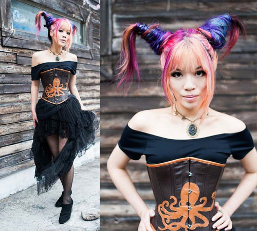 japan, kawaii, goth, steampunk model, steamgirl, steampunk couture by la-carmina on Flickr.