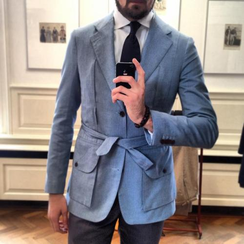 My friend Menco showing some SS13 inspiration from New Tailor: a bespoke Norfolk Jacket made from Dormeuil cotton