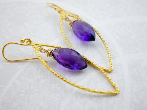 IFTTT Etsy Gold Wedding Dangle Puple Gemstone Amethyst Gemstone Amethyst Gold Drop Gold Vermei