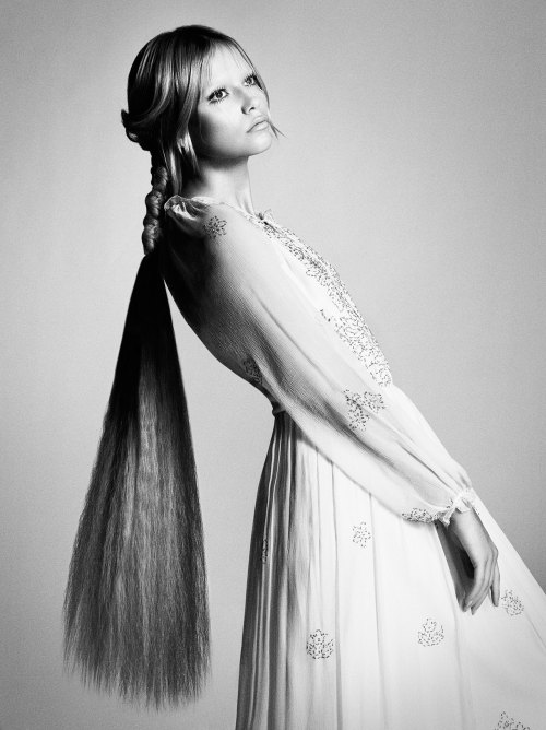 opaqueglitter:  Natasha Poly Wearing Vintage Long cream silk long dress with gold applique by Bellville Sassoon from Keni Valenti Vintage Couture