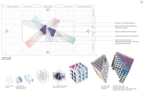 Fractal Projections is a play on the idea of the cube broken in space to create an interlocking grid system that follows a linear deformation, allowing them to break from the normal grid behavior into a family of fractal surfaces. Ace Hotel Downtown Los Angeles hangs its shingle later this year, and we couldn't be happier to share a neighborhood with one of our almae matres, SCI-Arc. This Thursday, we're looking forward to circling like sharks around Evelina Sausina and Eugene Kosgoron's installation — the winner of SCI-Arc's 40/40 competition — at the Farmer's and Merchant's Bank building for the Downtown LA Artwalk. 40/40 pays homage to architecture and how SCI-Arc alumni have transformed the school over the preceding four decades. Hats off, neighbors.