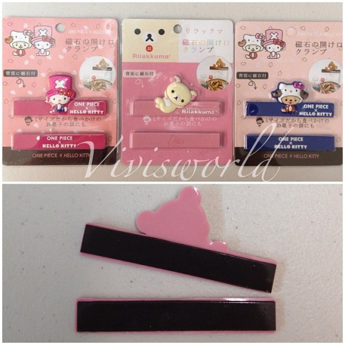 🐻🐱Hello Kitty x One Piece & Korilakkuma magnet snack seals !🐱🐻 ✨$5 each ✨ (at VivisWORLD)