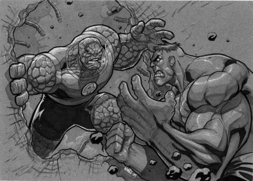 Thing Vs. Hulk by ~MiaCabrera