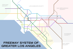 City of Los Angeles.  This is the result of an abortive project to map the Los Angeles freeway system Tube-style, but between my new job and my writing projects, I just haven't had the time.  I think I'll just write it off as High Art.