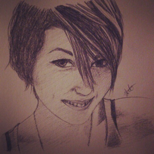 Self-portrait! :D if it looks like me, I don't know #me #girl #art #artist #artistic #sketch #selfportrait #paint #paintings #instagram #inspiration and I listen to #1D #onedirection while painting this ^^