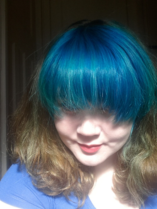 Stripey hair? #blue hair#blue#hair#curly#directions#hair dye#turquoise#turquoise hair#turquoises#pretty#girl#woman#full fringe#hair style#pastel goth#sun shine