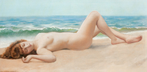 Nude on the Beach by John William Godward (1861-1922) oil on canvas, 1922
