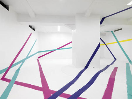 Colorful installation work over in Berlin, from artchipel:  artchipel:  Agathe de Bailliencourt - Occupation à 6. Painting installation realized in the cellar of the Hugo Boss Orange Store in Berlin (2008) Photos by Bernd Borchardt & Rene Moritz