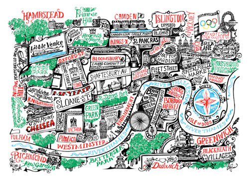 cartographymaps:  London by Vic Lee, from Gestalten's A Map of the World: The World According to Illustrators and Storytellers