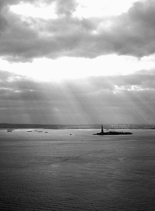 Lady Liberty, as seen from my window.