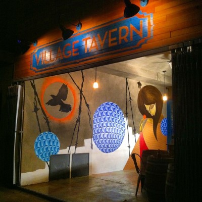 Village Tavern opening mid-May in lovely Atwater. Mural by @eyeone_sh @gorgs1 and Arab. Peep @atwatervillagetavern for updates… #eyeone #gorgs #mural #graffiti #streetart