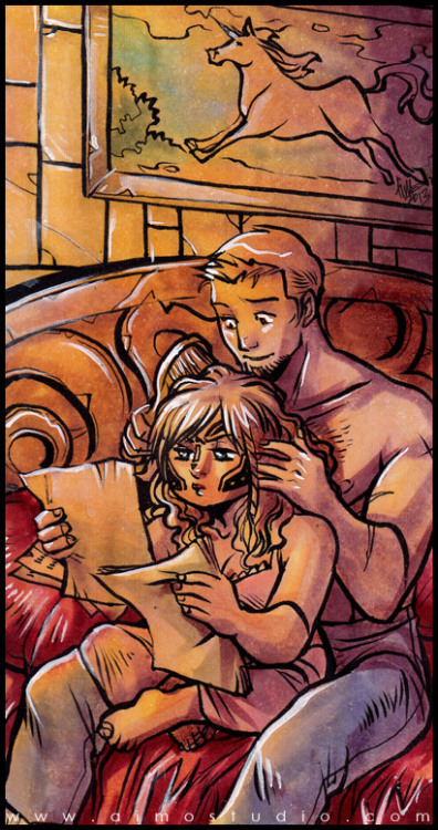 aimosketchcard:  A Scene of Domesticity: Alistair and my Custom Warden-Commander Aeducan from Dragon Age. —- Displayed artwork is available at my Artfire Store