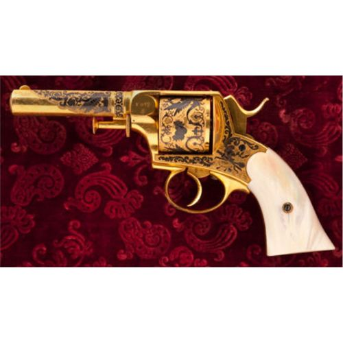 "Very ornate Tranter ""Bulldog Style"" revolver. Acid etched engravings, elaborate gold decorations, and mother of pearl grips. Sold at auction: $7,000"