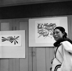 terresauvage:  Kenojuak Ashevak at the art centre in Cape Dorset, 1961.