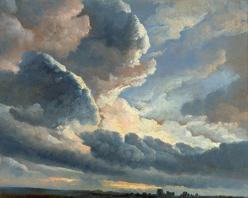 classic-art:   Study of Clouds with a Sunset near Rome Simon Alexandre-Clement Denis