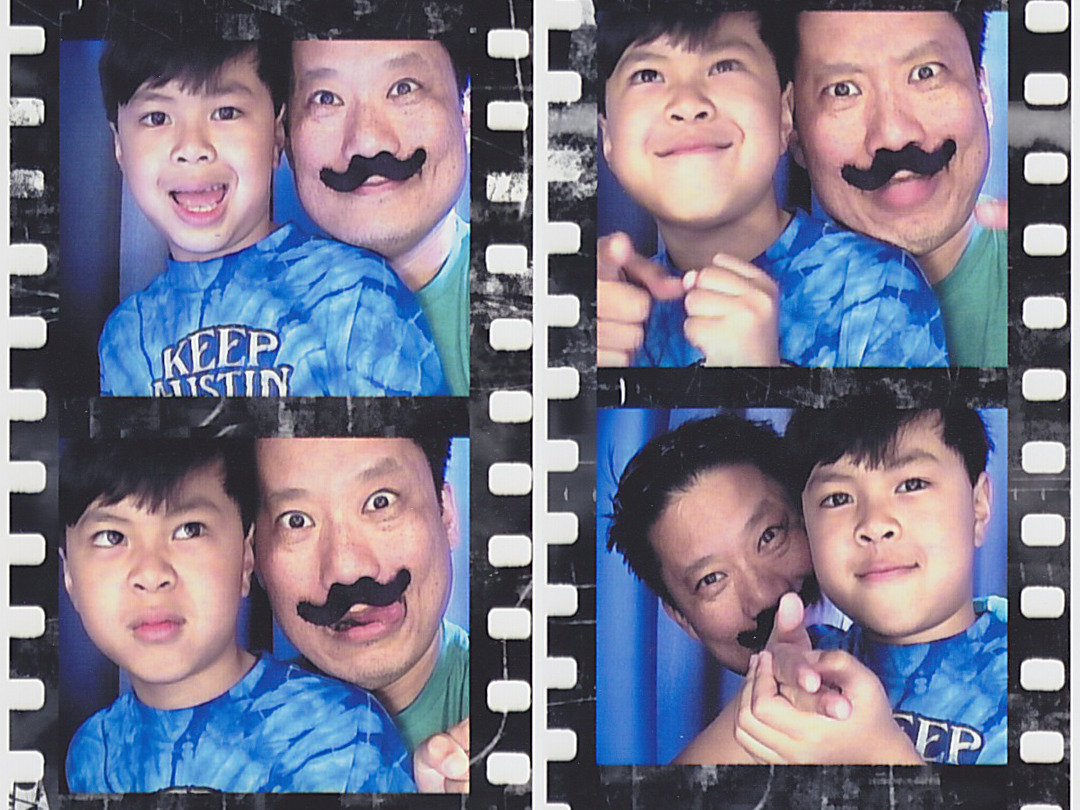 Happy (photobooth pics with a mustache-less the boy at Universal Studios Orlando) Mustache Wednesday!
