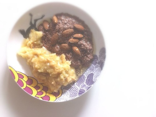 Chia seeds soaked in almond milk and cacao, with mashed banana with peanut butter. And a bit of agave and raw almonds on top.