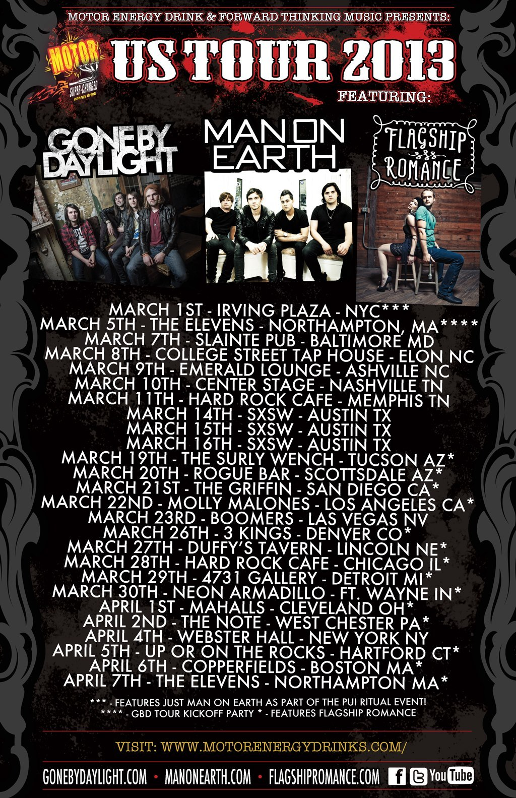 Tonight is our last night playing with Man On Earth and Gone By Daylight *holding back tears*… We have had the most memorable, crazy, inspiring, adventurous time with these guys, who we now feel like are our brothers.   We play at The Elevens in Northampton, MA, at 7:30 sharp! Come out if you're in the area.. It's going to be quite a night. :) -JJ & SF