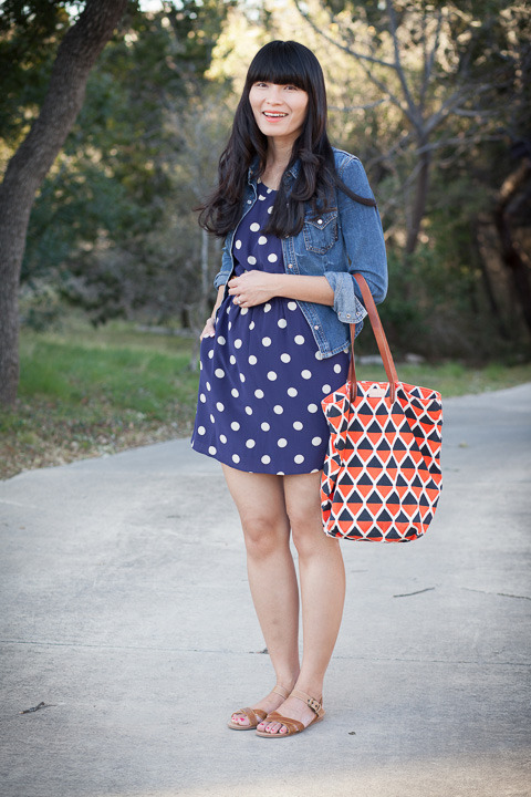 2013. a walk outside. denim jacket by billy blues (thrifted). silk dotty dress by madewell. wanted sandals. missibaba bag.after several evenings in the 30's, spring is here— for the moment, anyway. the weather treated us to a beautiful sunny day with legendary texas blue skies. everyday we take turns walking sophie. michael walks her in the mornings, and i walk her after school. on cold days, we bundle up and scurry in and out. on warm days, we mosey around other people's yards and scowl at loud airplanes (more her than me). i can't help but giggle watching her trot-trot-trot back home. a walk outside is good for the soul. it's just a teensy bit better with a funny pug.the look | similar jacket | similar dress | similar sandals