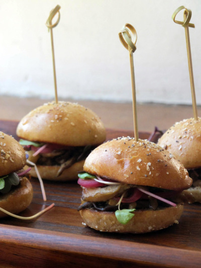 thanksforsharing:  Here's the recipe for those Miso Mushroom Sliders from dinner club last weekend, as well as one for the cutest ever mini burger buns.