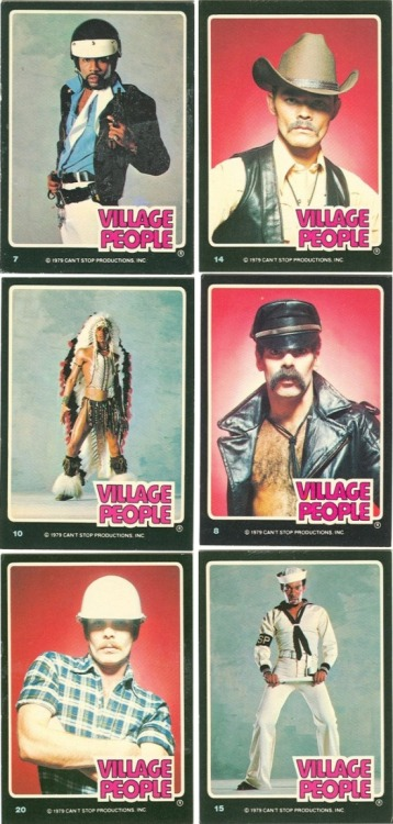 superseventies: Village People 'Can't Stop The Music' trading cards, 1979.    Want!!!