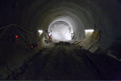 "jockohomo:  London Laocoön - ""The Crossrail tunnels in London—for now, Europe's largest construction project, scheduled to finish in 2018—continue to take shape, created in a ""tunneling marathon under the streets of London"" that aims to add 26 new miles of underground track for commuter rail traffic.It's London as Laocoön, wrapped in tunnel-boring machines, mechanical snakes that coil through their own hollow nests beneath the city."