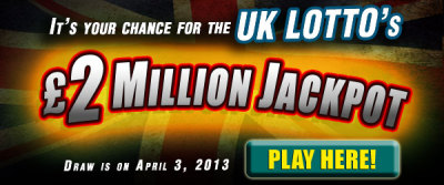 osalottos:  UK Lotto Draw: GBP 2M Jackpot on April 3    There was one jackpot winner in the March 30 UK Lotto draw. The winning numbers were 08-15-24-40-43-45 and Bonus Ball 33.The UK Lotto Jackpot on Wednesday, April 3 is now estimated at GBP 2M.Play the UK Lotto now!