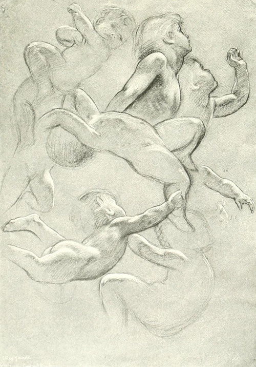 Herbert James Draper (1864-1920) Study for Prospero Summoning Nymphs and Deities (Study of Children and Air Spirits) Chalk on paper ca. 1902