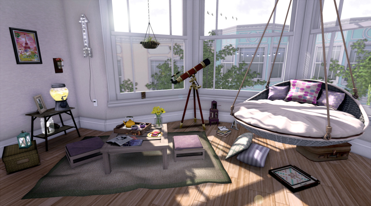 { lazy sunday } build: skybox: [ba] haight apartment skybox (@ C88) things: bed: Trompe Loeil - Hanging Outdoor Bed (@ C88) suitcase: {vespertine- machinarium suitcase/rosemary} (@ arcade) scrabble: {af} Let's Play Scrabble pillows: Pilot - Tiffany Extra Pillows (@ C88) books: floorplan (stack & light in the attic) letter A: :CP: MapMe Letters - A music box: [ContraptioN] Music Box GACHA: Fantasy (@ arcade) telescope: TA Vintage Telescope boho dining set w/ food & rug: *ionic* in the morning (for lazy sunday) tulips: *Tatty Soup* Tulip Jar Canary. hanging plant: :CP: Sara Hanging Plant (@ faMESHed) heart letter press: {sa} Love Letter Press arrow light: [*Art Dummy!] light up my way. (vintage up arrow light) wall scone: The Loft  - Lily Wall Sconce Jar painting: The Loft - Paris bev: Tee*fy Beverage Dispenser Lemonade (@ arcade) pic frame: *Tatty Soup* Random Frame Mellow 1. side table: zigana Side table .light mason light: Trompe Loeil - Mason Jar with Electric Candle (@ arcade) box: {vespertine_flowers} lantern: {af} Storm Lamp (Cyan Wood)