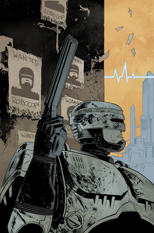 dshalv:  Just announced: I'll be providing covers for Frank Miller's new ROBOCOP: LAST STAND mini-series from BOOM! Studios. Above is the cover for #1, colours by Jordie. Dec.