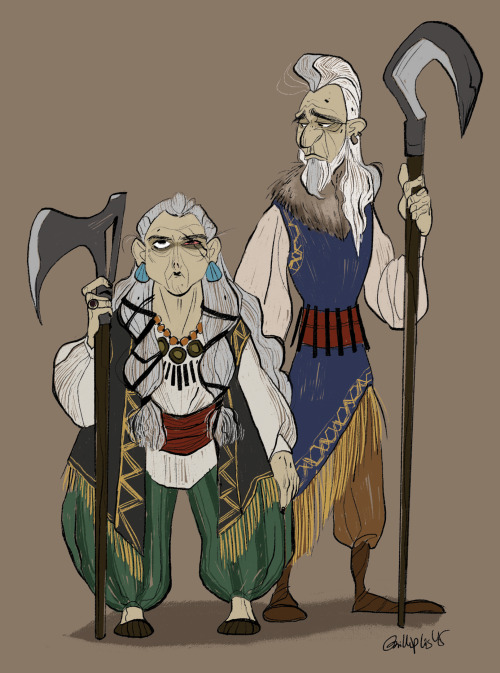 In their youth, the old woman and her husband were fierce warrior mages. After a battle that left their village destroyed, they remained in the village to avenge their people. Emotionally scared from the battle, everyday the old woman wakes up and stands at the outskirts of the village to wait for the enemy to return. But they never come. Her husband stands by her side, emotionally drained from trying to convince her to move on after so many years. I don't draw enough old people so this was fun!